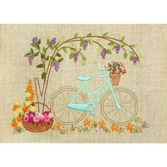Items similar to Hand Embroidery Kit Bicycle walk Decorative stitch Hand Embroidery Needlepoint Needlework Stitching Wall Decor Home decor Idea gift on Etsy Diy Embroidery Patterns, Diy Bead Embroidery, Hand Embroidery Videos, Embroidery Motifs, Simple Embroidery, Paper Embroidery, Cross Stitch Kits, Cross Stitch Patterns, Tapestry Kits