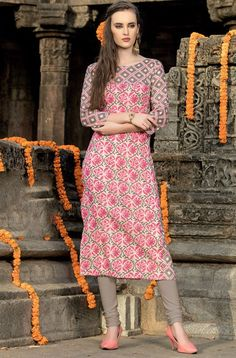 Beige and Dusty Grey Jaipuri Style Kurti