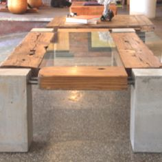 Coffee table  Reclaimed wood Glass Steel Concret