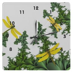 Yellow Dragonflies Clock by MousefxArt.Com #dragonflies #clock #fractals #yellow