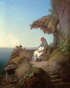 The Sleeping Hermit by Carl Spitzweg (German 1808-1885)