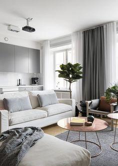 Modern open plan living with minimal grey kitchen