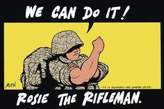 We can do it! Tony Auth on GoComics.com #humor #comics #politics #Military #Women