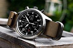 Watches Ideas IWC Pilot's Chronograph Automatic Dream Watches, Luxury Watches, Cool Watches, Watches For Men, Iwc Pilot Chronograph, Iwc Watches, Nato Strap, Nato Watch Strap, Bracelet Cuir