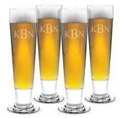 Monogrammed Tall Pilsner Glass Set