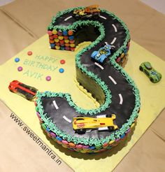 Homemade Eggless 3D Custom Number 3 Shaped Race Car Theme 3rd Birthday Cake For Boy