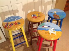 Whimsical Painted Furniture, Painted bar stool // round top//whimsical painted stool hand painted home decor Custom Bar Stools, Painted Bar Stools, Hand Painted Chairs, Whimsical Painted Furniture, Wooden Stools, Hand Painted Furniture, Funky Furniture, Paint Furniture, Paint Bar