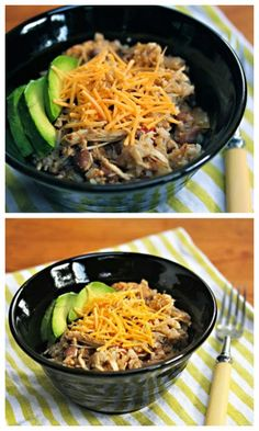 Slow Cooker Chicken and Pinto Bean Burrito Bowl from The Perfect Pantry sounds perfect for a summer dinner from the slow cooker, and using the slow cooker won't heat up the house! [Featured on SlowCookerFromScratch.com]