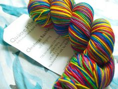 """sock yarn in """"Christmas Baubles"""" colorway from Quaere Fibre on Etsy"""