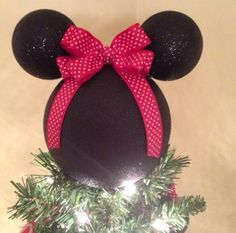 Minnie DIY Disney Christmas Tree Topper Neatly Done Disney Christmas Tree Topper, Vintage Christmas Tree Toppers, Unique Christmas Trees, Christmas Time, Merry Christmas, Mickey Mouse Crafts, Minnie Mouse, Disney Diy, Disney Crafts