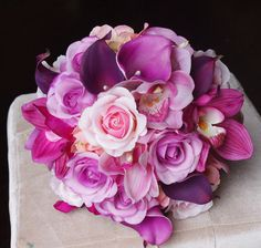 Wedding Purple Mix of Fuchsia, Pink and Lilac Natural Touch Orchids, Callas and Roses Silk Flower Bride Bouquet by Wedideas on Etsy https://www.etsy.com/uk/listing/184396999/wedding-purple-mix-of-fuchsia-pink-and