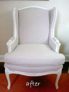 Drop cloth reupholstered chair.