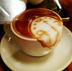 Japanese artist Kazuki Yamamoto has got the Internet buzzing about his latte art again - this time he's back with a very impressive Salvador Dali-inspired foam sculpture. The latte foam in the cup is shaped as a melting clock in Dali's Listed by Coffee Latte Art, I Love Coffee, Best Coffee, Coffee Break, My Coffee, Coffee Shop, Funny Coffee, Coffee Coffee, Drip Coffee