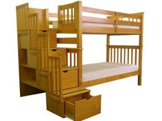 Bunk Bed Tall Twin over Twin Stairway Honey for only $598
