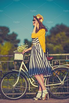 1c1b6d4f287310 Girl on a bike ride with a retro hipster bike by Serovphoto on  @creativemarket Hipsters
