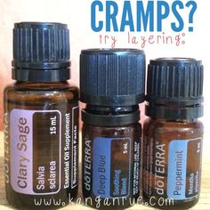 How to treat menstrual cramps, postpartum aches, and muscle cramps using essential oils. Layer clary sage, deep blue, and peppermint doTERRA essential oils.