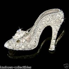 Crystal ~Cinderella Glass Slippers~ High Heel shoes Fairy Pin Brooch