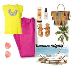 """""""Summer brights"""" by babis117 ❤ liked on Polyvore featuring Lands' End, 8PM, Olivine, Ray-Ban and summerbrights"""
