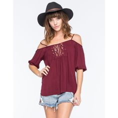 Full Tilt Cold Shoulder Womens Blouse ($29) ❤ liked on Polyvore featuring tops, blouses, burgundy, cutout shoulder top, cold shoulder tops, burgundy blouse, full tilt and three quarter sleeve tops