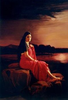 Pushpamala N., Lady in the Moonlight (Raja Ravi Varma recreation) Ravivarma Paintings, Indian Art Paintings, Indian Folk Art, Indian Artist, India Painting, Woman Painting, Academic Art, Art Folder, Beauty Art