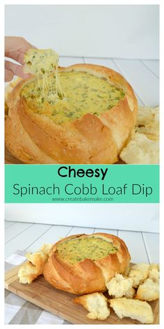 This simple Cheesy Spinach Cobb Loaf Dip is perfect for entertaining!