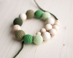Teething necklace / Crochet nursing necklace - Shades of green. $23.00, via Etsy.
