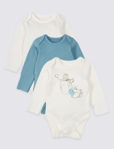 3 Pack Peter Rabbit™ Pure Cotton Bodysuits 26ae8fae185