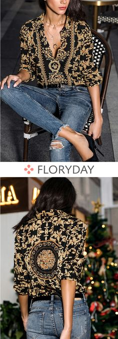 Floral Elegant Collar Long Sleeve Blouses - All About Chic Outfits, Fashion Outfits, Womens Fashion, Fashion Trends, Look Fashion, Autumn Fashion, Looks Style, My Style, Trendy Style