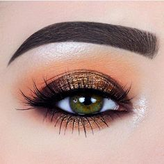 Orange and bronze eye makeup