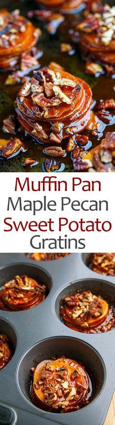 Muffin Pan Maple Pecan Sweet Potato Gratins