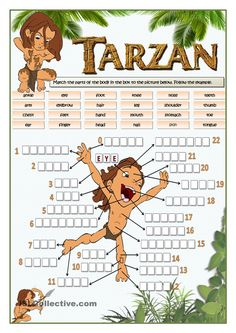 Vocabulary practice on parts of the body with Tarzan. English Worksheets For Kids, English Games, Kids English, English Activities, English Lessons, Learn English, Activities For Kids, Listening Activities, French Lessons