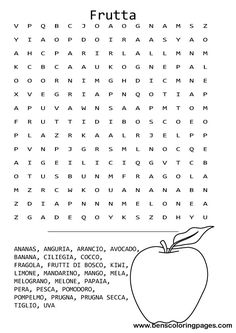 Printable Italian fruit word search