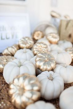 Fall white gold pumpkin wedding reception decor / http://www.himisspuff.com/fall-pumpkins-wedding-decor-ideas/7/