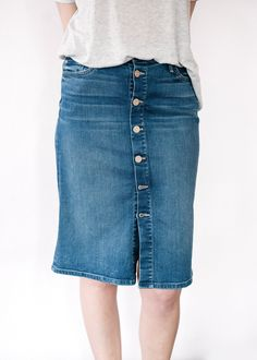 High Waisted Button Down Midi Skirt