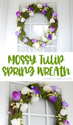 Spring Wreath Mossy Tulip Tutorial | #wreath #howto #springdecor