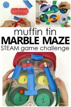 Try this collaborative Muffin Tin Maze Game STEM Challenge for kids to inspire creative thinking, problem solving, and FUN! Science Activities For Kids, Steam Activities, Preschool Science, Learning Activities, Steam Learning, Fun Learning, Stem Challenges, Engineering Challenges, Maze Game