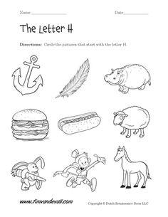 Letter H Worksheet for Preschool
