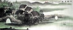 "$235 Chinese Village Painting ""Water Village on a Spring Morning"""