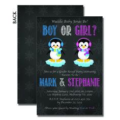Unique Baby Shower Invitations – Penguin Gender Reveal