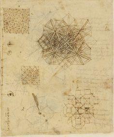 Leonardo da Vinci. Disegni decorativi e nodi ornamentali.