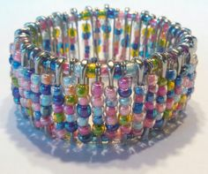 Multicolored Beaded Safety Pin Bracelet