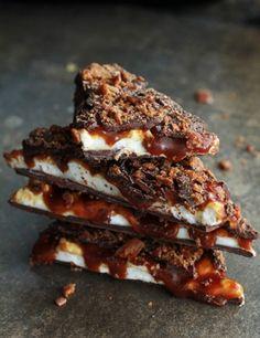 DIY whiskey, caramel, marshmallow & bacon bark