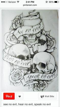 Hear no evil , see no evil , speak no evil . Skulls