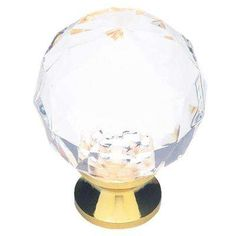 1-3/16 in. Brass with Clear Faceted Acrylic Ball Cabinet Knob