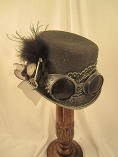 Steampunk Hat - Black,  gunmetal goggles