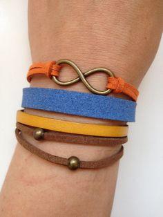Infinity Bracelet 113  infinity charm  blue by enjoywelrydesign