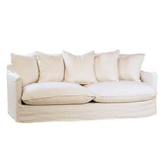 White Linen Pillow Back Sofa