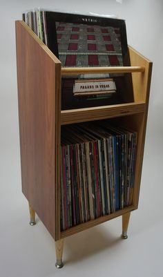 Vinyl Record Storage Stand and Display Holds 130 LP's   Etsy Vinyl Record Storage Furniture, Vinyl Record Storage Shelf, Vinyl Record Stand, Record Player Stand, Record Cabinet, Lp Storage, Vinyl Records, Audio Room, Deco Design