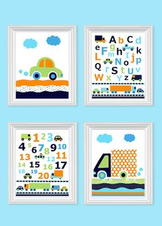Transportation Nursery Art, Car Nursery Decor, Trucks, Blue Green Navy Orange Cars, Boy's Room, Baby Boy, Baby Shower Gift, Car Canvas Art by SweetPeaNurseryArt on Etsy