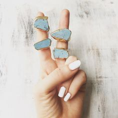 These turquoise slices. | 25 Gemstone Rings That Prove Diamonds Aren't A Girl's Best Friend